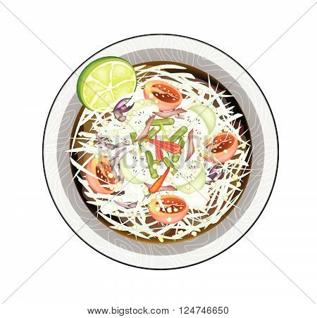 Cuisine and Food Plate of Green Papaya Salad with Fermented Salted Fish and Crabs. One of The Most Popular Dish in Thailand.