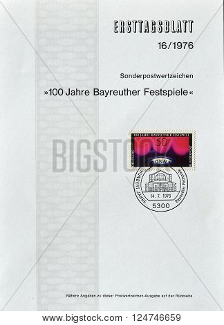 GERMANY - CIRCA 1976 : Cancelled First Day Sheet printed by Germany, that shows Centenary of Bayreuth festival.