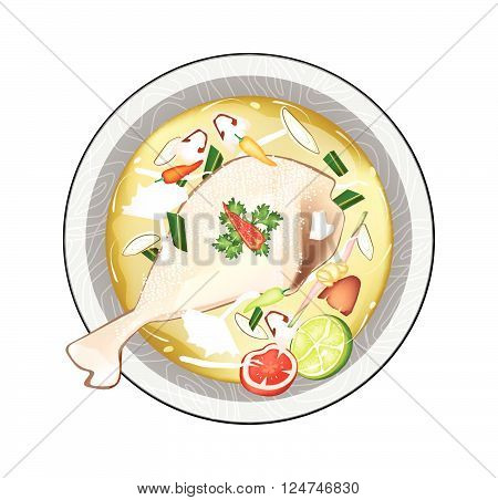 Thai Cuisine Chicken Tom Yum or Thai Spicy and Sour Soup with Chickens Mushroom and Herbs. One of The Most Popular Dish in Thailand.