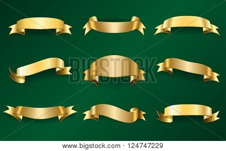 Gold ribbons set. Golden blank banners collection. Design element isolated on green background. Vintage retro style. Template for greeting advertising. Symbol guarantee product. Vector illustration.
