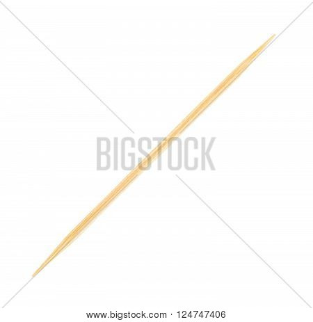 brown wooden toothpick, isolated on white background