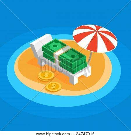 Money resting on the sunny beach, lying on a lounger under a parasol striped umbrella on the island overseas, flat color vector shaped illustration of offshore, banknotes money get a rest from taxes