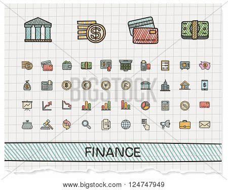 Finance hand drawing line icons. Vector doodle pictogram set. color pen sketch sign illustration on paper with hatch symbols, business, statistics, currency, money, payment, internet, register.