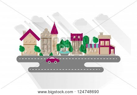 Small town urban landscape in flat design style vector illustration. Buildings street with car grocery apartment house town hall