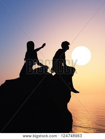 Silhouettes of men and women on the mountain.,3d render