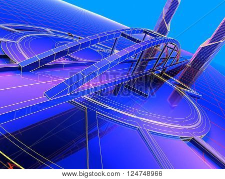 Model of the roads on a blue background., 3d render