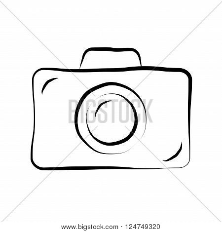 Photo camera doodle icon. Retro hand drawing sketch sign. Cartoon design element. Black outline isolated on white background. Symbol of photography film. Equipment for photograph. Vector illustration