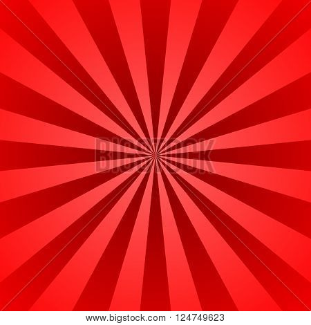 Red rays poster. Popular ray star burst background television vintage. Dark-red and light-red abstract texture with sunburst flare beam. Retro art design. Sun star bright pattern Vector Illustration