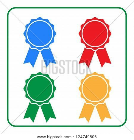 Ribbon award icons set. Blue red green yellow rosette badge on white background. Medal design element. Flat label emblem. Blank certificate. Symbol victory prize winner best Vector illustration