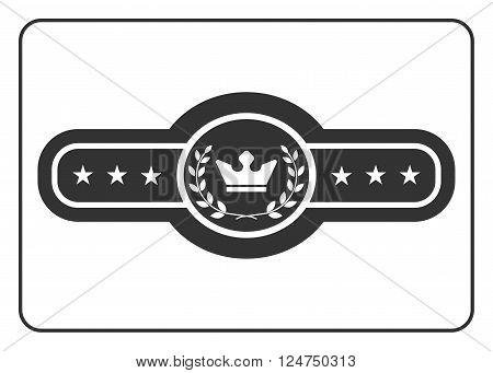 Champion belt icon. Award trophy. Symbol competition box boxer championship concept. Black sign isolated on white background. Design element. Sport equipment. Flat graphic style. Vector illustration
