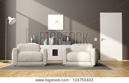 Modern brown living room with two armchair,sideboard and closed door - 3d rendering