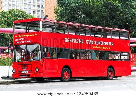 BERLIN GERMANY - SEPTEMBER 12 2013: City sightseeing bus MAN SD200 in the city street.