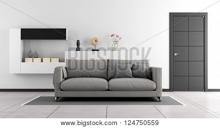 Black and white living room with sofawall unit and closed door - 3d Rendering