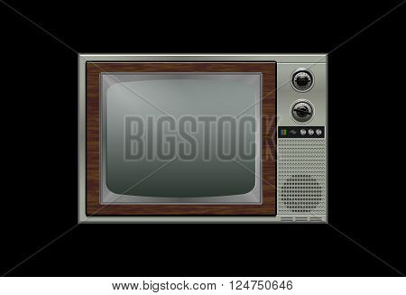 Retro tv isolated on the black background