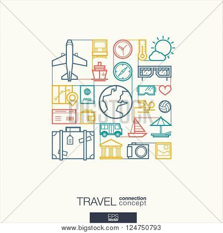 Travel integrated thin line symbols. Modern linear style vector concept, with connected flat design icons. Abstract background illustration for tourism, holiday, trip, summer, vacation concepts.