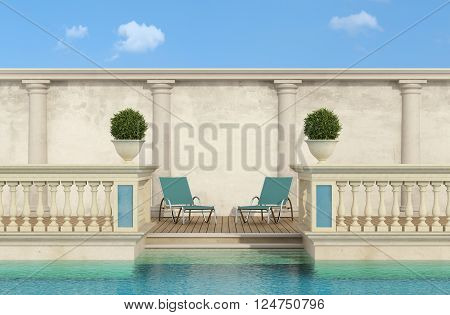 luxury swimming pool with classic balustrade and colonnade - 3d Rendering