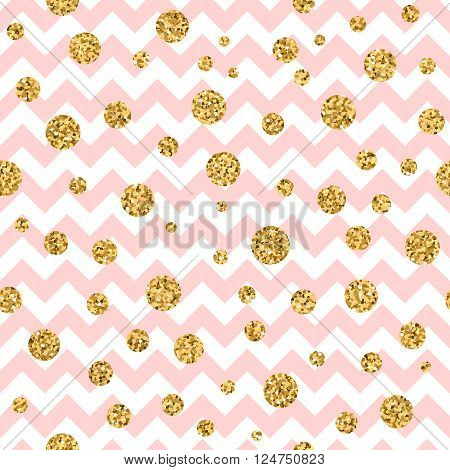 Golden polka dot seamless pattern. Gold confetti glitter zigzag. Geometric pink and white zig zag texture. Valentine day or christmas design for card wallpaper wrapping textile. Vector Illustration