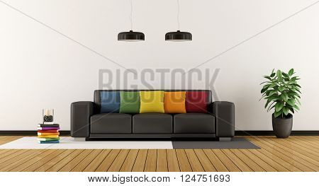 White living roo with colorful sofa and hardwood floor - 3D Rendering