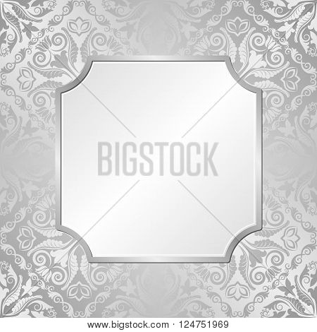 silver background with antique ornaments and frame