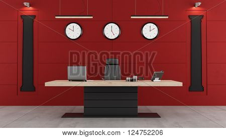 Red and black modern office with deskchair and shape of classical columns on the wall - 3d Rendering