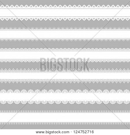 Vector set of lace ribbons. Great for design and scrapbook.Can be used as seamless pattern. Vector illustration. Border and element of decor.