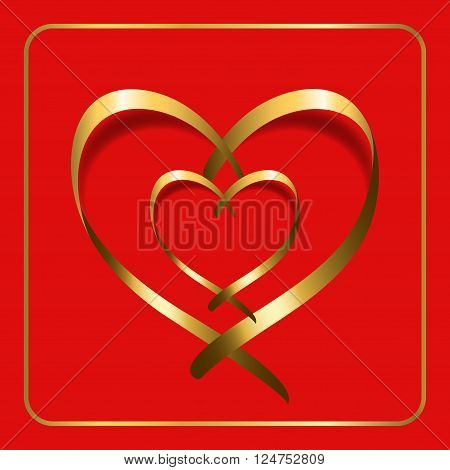 Gold ribbon double heart. Golden silhouette isolated on red background. Symbol happy love romantic wedding. Valentine Day design 4 template banner invitation card poster etc. Vector Illustration