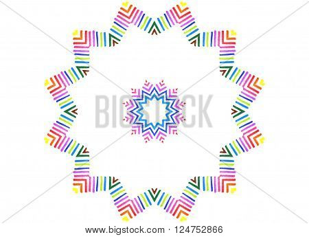 Abstract color lines concentric pattern on white background for design