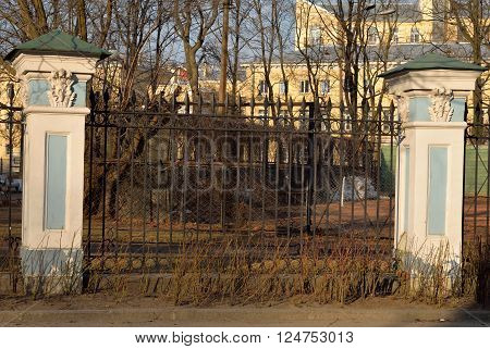 Fence of Naval Cathedral of St. Nicholas and the Epiphany in St.Petersburg at sunny evening Russia.