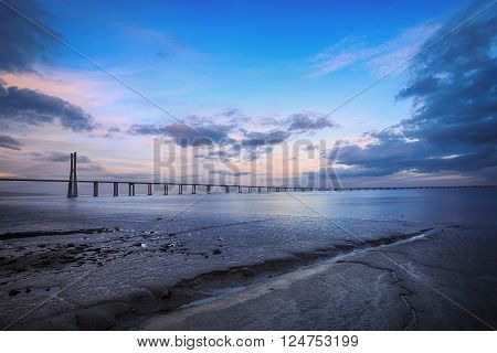Vasco da Gama Bridge in Lisbon. The longest bridge in Europe. HDR - high dynamic range
