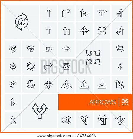 Vector thin line icons set and graphic design elements. Illustration with arrows, direction and move outline symbols. Turn left, right, switch, undo linear pictogram