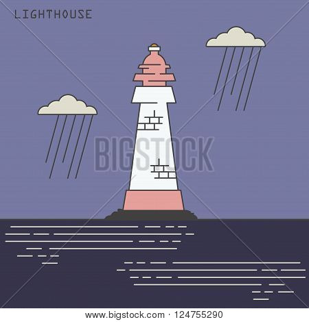 Old lineart flat lighthouse in the sea landscape.