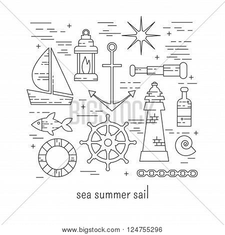 Sea icons lineart vector set with boat, anchoe, wheel, bottle, star, fish and shell.