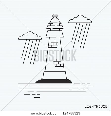 Lineart lighthouse on the middle of the sea. Vector illustration.