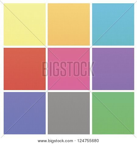 Set of Colorful Halftone Backgrounds. Colored Dots Effect