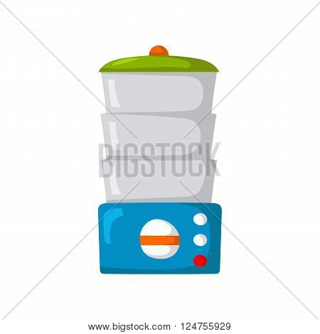 Isolated cartoon kitchen steamer on white background. Kitchen home appliances concept