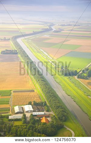 Dutch landscape with straight canal from above