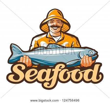 happy fisherman holding a big fish. vector illustration