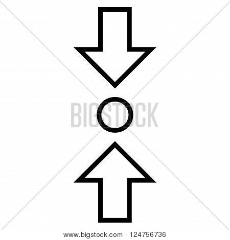 Compress Vertical vector icon. Style is stroke icon symbol, black color, white background.