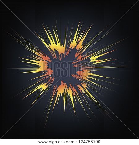 Explode Flash, Cartoon Explosion, Star Burst Isolated on Black Background