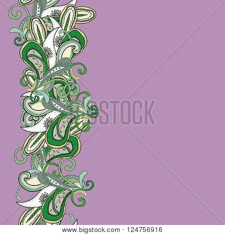 Violet background with abstract oriental tracery. Paisley pattern. Colored eastern border on green field. Can be used as greeting card, packing paper etc.