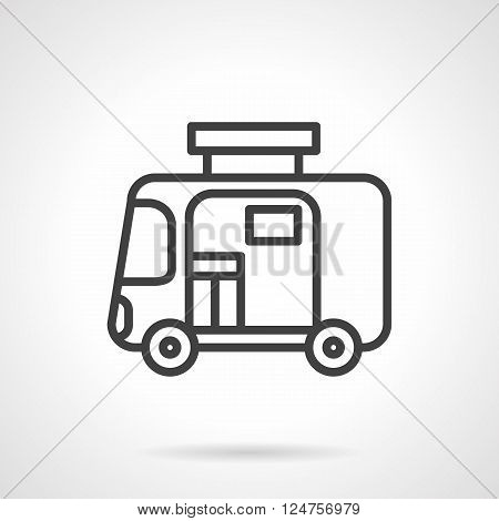 Trailer for travel and tourism. Camping car or caravan. Mobile home. Simple black line vector icon. Single element for web design, mobile app.