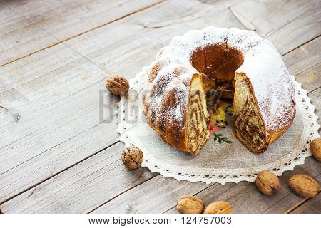 Potica, Roll with walnuts. Slovenian traditional dessert