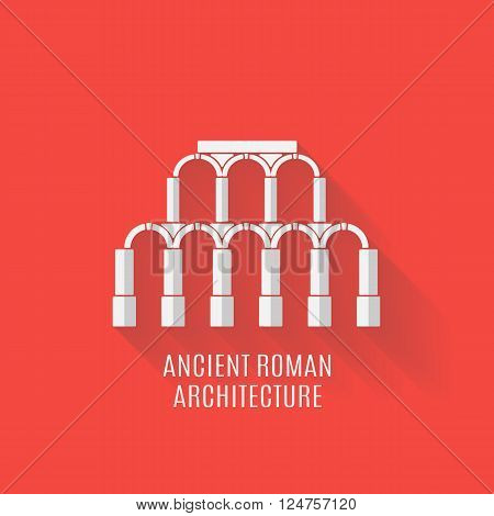 Ancient Roman architecture. Aqueduct with Long shadows. Vector flat illustration