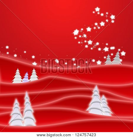 fir tree with star tail against red background