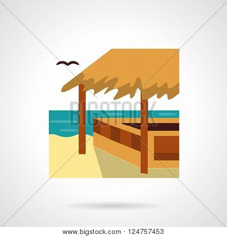 Bungalows, cafe and bars theme. Wooden beach construction with hay roof or awning. Tropical seascape. Tourism and travel. Flat color vector icon. Web design element for site, mobile and business.