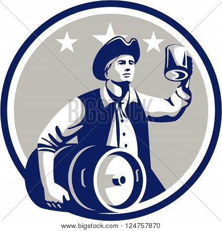 Illustration of an American Patriot holding a beer mug toasting while carrying beer keg set inside circle with stars in the background done in retro style.