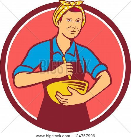 Illustration of a housewife woman cook wearing bandana holding mixing bowl and wooden spoon spatula viewed from front set inside circle done in retro style.