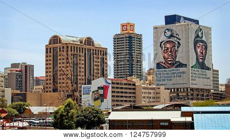 Johannesburg South Africa - December 21 2013: The image shows Johannesburg, which began as a gold-mining settlement. Today the city is one of the world's leading financial centers and the economic & financial hub of South Africa.