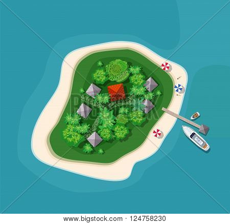 Island paradise view from above. Top view island sprite