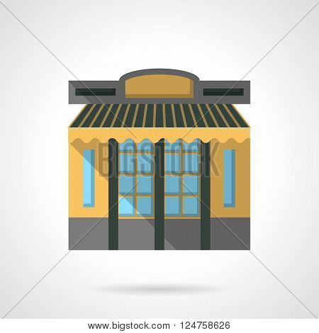 Facade of public building with yellow wall and striped awning. Cafe exterior. Storefronts and showcases theme. Flat color style vector icon. Web design element for site, mobile and business.
